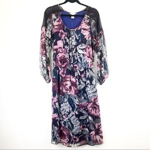 Sundance Boho Midi Dress Floral Silk Romantic M V
